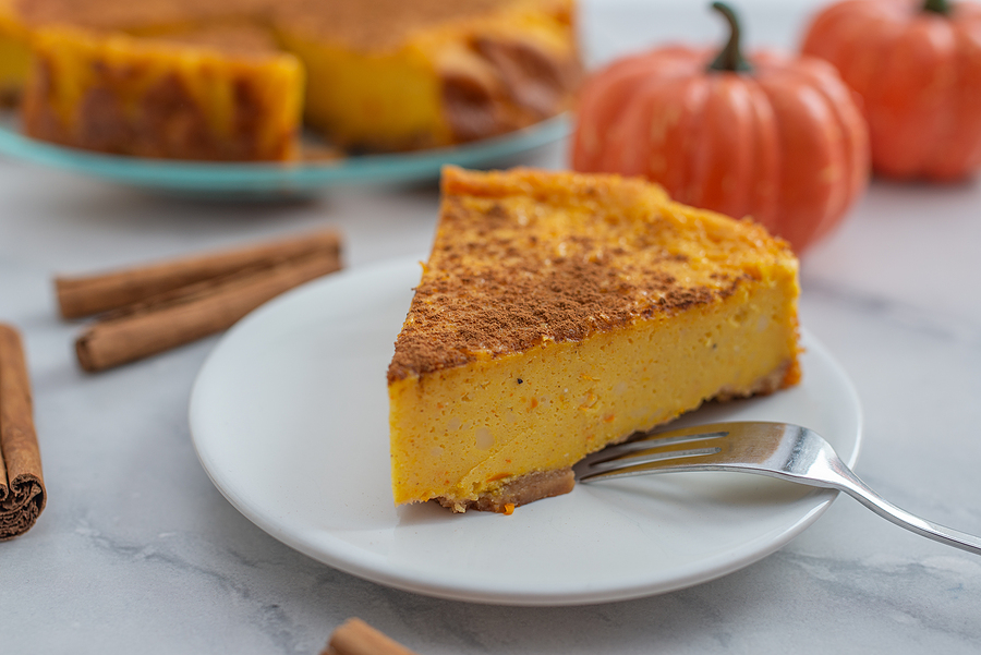 Pumpkin Cheesecake with Crushed Pecan Crust Recipe